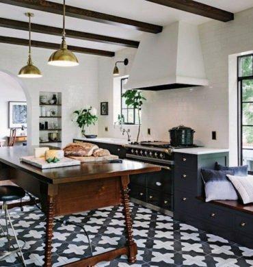 Black and white tile kitchen floors