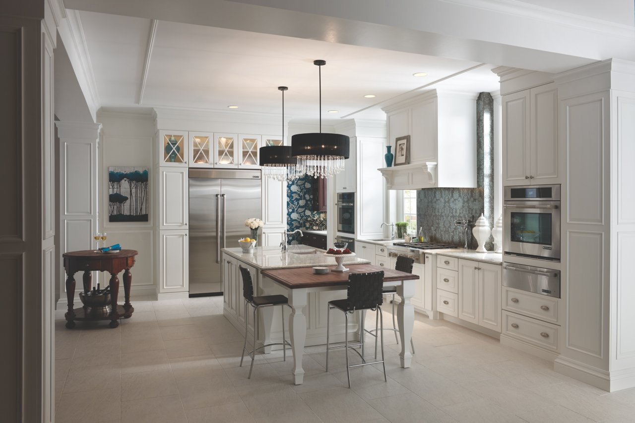 Medallion Cabinetry in white. Traditional English pantry style